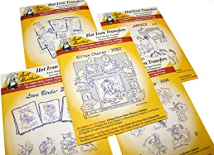 Aunt Martha's Iron On Transfer Patterns for Stitching, Embroidery or Fabric Painting, Cute Vintage Animal Patterns for Tea Towels or Quilting, Set of 5