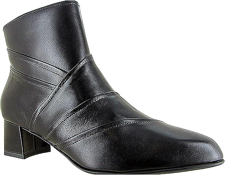 BeautiFeel Lady Black Calf Leather Dress Ankle Boot, Size 38 EU