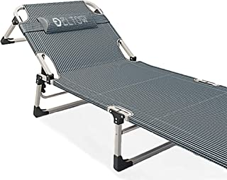 ELTOW Portable Folding Camping Cot – Reclining Beach and Pool Lounger with Oxford Cloth and Steel Frame – Outdoor Chaise Chair Bed for Patio, Garden, Yard – Carrying Bag, Comfortable Pillow Included…
