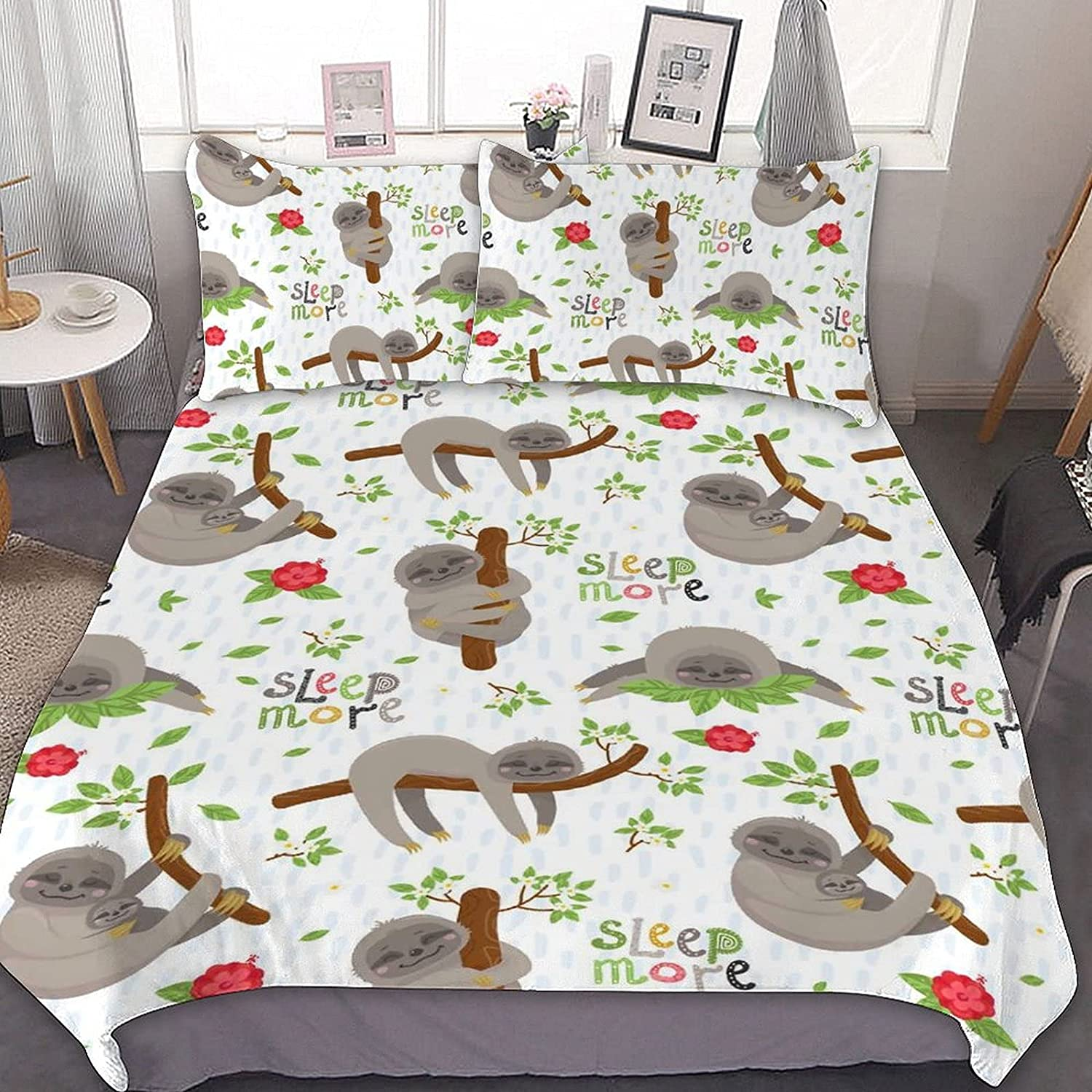 Sloth 3-Piece Set of Polyester Double wi Cover Max 49% OFF 35% OFF Quilt