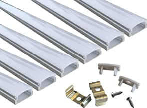 6-Pack 3.3ft/1Meter 9x17mm U Shape LED Aluminum Channel System with Cover, End Caps and Mounting Clips Aluminum Profile for LED Strip Light Installations, Led Lights Diffuser Segments