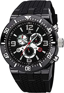 Men's Swiss Watch - 3 Subdials Chronograph Watch with Date Window on Tire-Tread Silicone Band - JS55