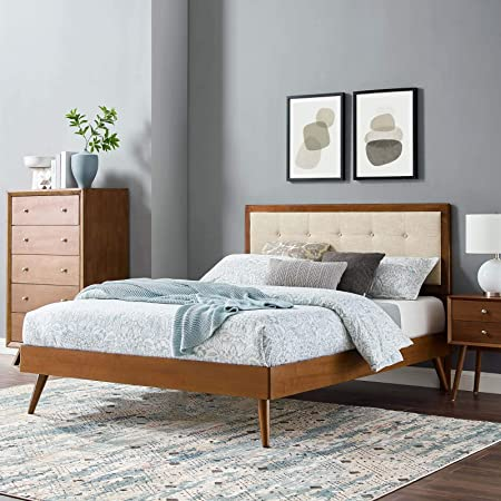 Modway Willow Wood Twin Platform Bed In Walnut Charcoal With Splayed Legs Single Furniture Decor