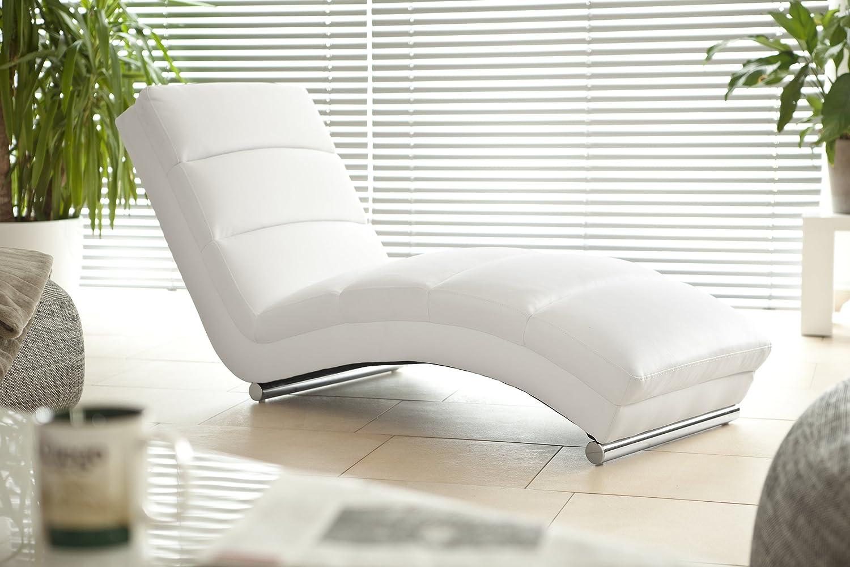 Designer-Liege Chaise-Longue aus Kunstleder schwarz mit verchromten Gestell   Renta  Relax-Liege zum Entspannen aus hochwertigem Kunstleder schwarz