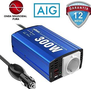 GIANDEL 300W Inversor de Corriente de Onda Pura Adaptador de Coche Convertidor 12V DC a 220V 230V 240V AC con 4.8A Dual USB y Toma de AC para Tabletas Portátiles Smartphones CPAP