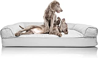 FurHaven Pet Dog Bed   Orthopedic Quilted Sofa-Style Couch Pet Bed for Dogs & Cats, Silver Gray, Jumbo