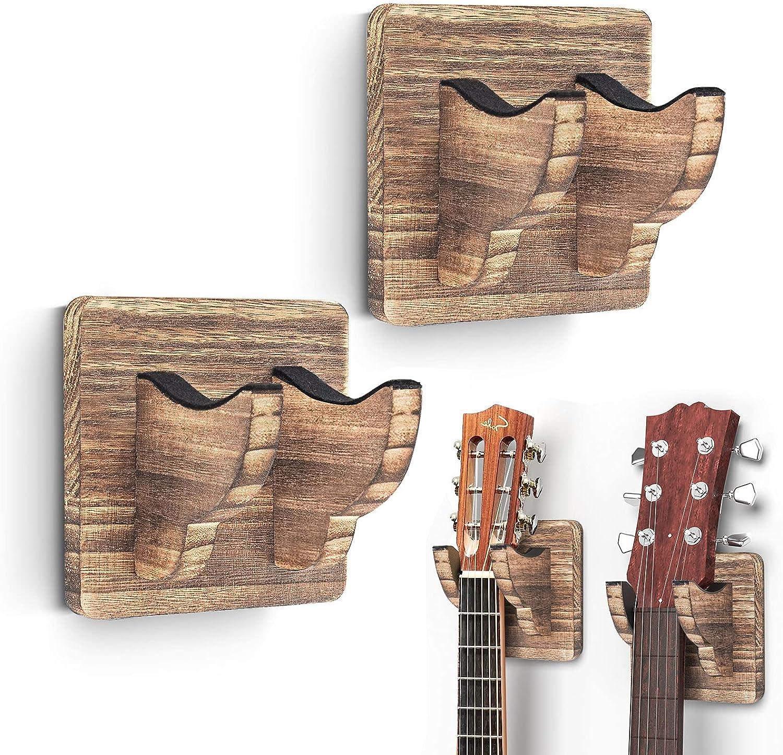 2 Pack Guitar Wall Hanger, Guitar Wall Mount Guitar Holder Ukulele Hanger Bracket Wood Hanging Holder for Acoustic Guitar Bass Banjo Mandolin Brown