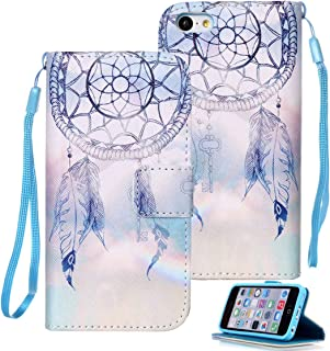 iPhone 5C Case, iPhone 5C Wallet Case, Etubby [Wallet Stand] PU Leather Wallet Flip Protective Case with Card Slots and Wrist Strap for Apple iPhone 5C (2013) - Dreamcatcher