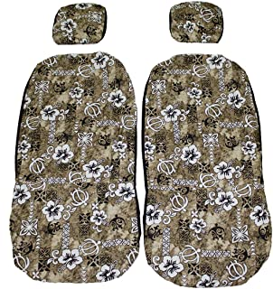 Hawaiian car seat cover with Separated Headrest, Green Surfboard, Set of 2 Front Bucket Seat Covers, Made in Hawaii (Brown)