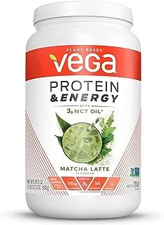 Vega Protein & Energy Matcha Latte (24 servings, 29.3 oz) - Plant Based Vegan Non Dairy Protein Powder, Gluten Free, Keto, MCT oil, Non GMO