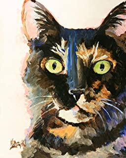"""Tortie Tortoiseshell Cat Art Print   Tortie Cat Gifts   From Original Watercolor Painting by Ron Krajewski   Hand Signed in 8x10"""" and 11x14"""" Sizes"""