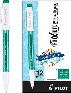 PILOT FriXion Fineliner Erasable Marker Pens, Fine Point, Green Ink, 12 Count (11470)