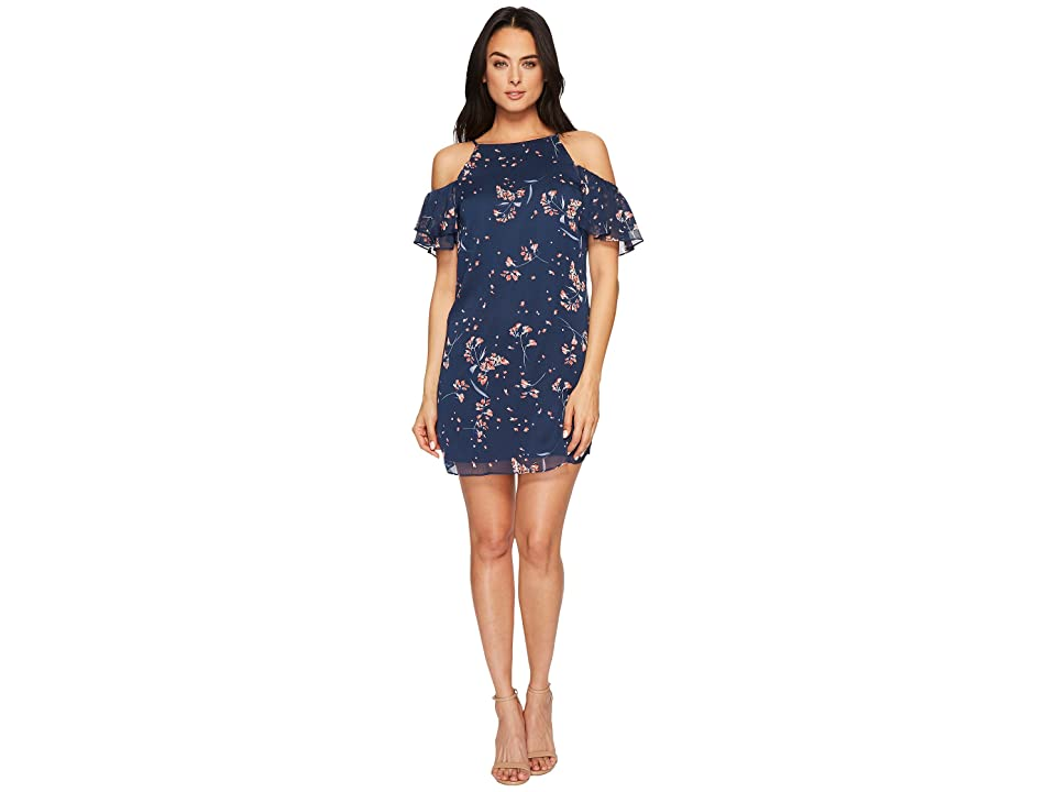 CeCe Nika Off the Shoulder Floral Dress (Indigo Sky) Women