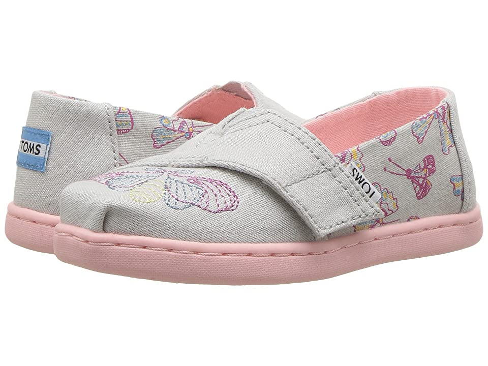 TOMS Kids Alpargata (Infant/Toddler/Little Kid) (Glacier Grey Metallic Butterflies) Girl