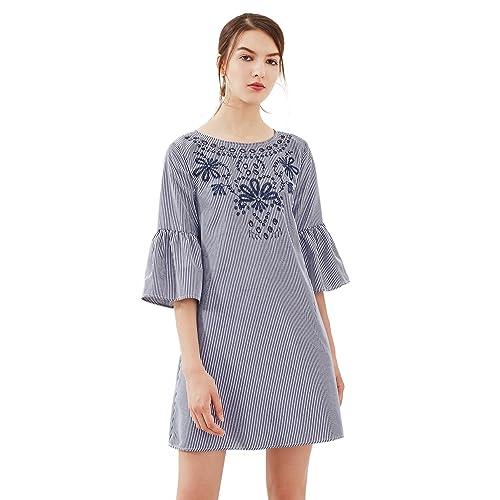 b7730a46b Floerns Women's Bell Sleeve Embroidered Tunic Dress