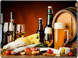 Luxlady Natural Rubber Placemat IMAGE ID: 27454867 still life with wine beer traditional food cheese and sausages