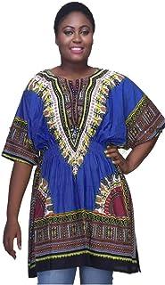 فستان Dashiki تقليدي مطبوع بألوان مطبوعة مع نسيج مرن