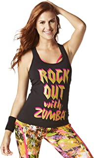 Zumba Black Graphic Print Fitness Dance Workout Racerback Tank Tops For Women
