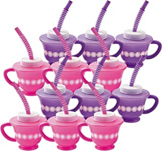 Dozen Tea Party Cups with Straw and Top (Assorted colors)