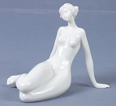 4.25 Inch Porcelain Nude Woman Kneeling with Eyes Closed Figurine