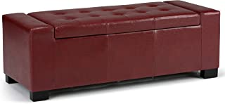 Simpli Home AXCOT-231-RRD Laredo 51 inch Wide Contemporary  Storage Ottoman in Radicchio Red Faux Leather