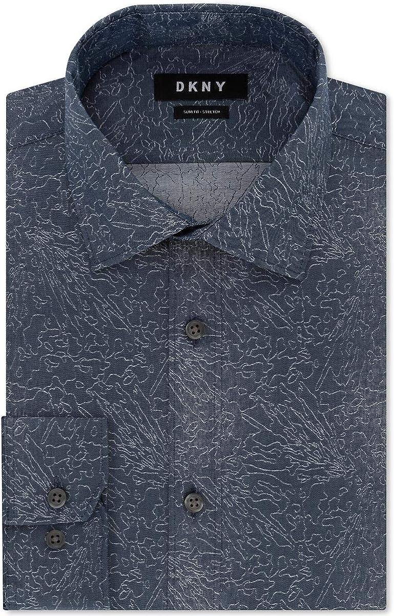 DKNY Mens Slim Fit Stretch Button-Down Shirt Blue