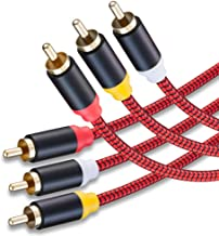 Audio Video RCA Cable 20Ft,3RCA Male to 3RCA Male 24K Gold Plated Composite AV Cable Compatible with Set-Top Box,Speaker,Amplifier,DVD Player and More(20Ft/6M)