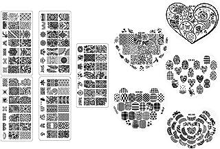 Gosear 5PCS Placas de Estampado de uñas en Forma de corazón + Placas rectangulares 5PCS para el salón Profesional del hoga...