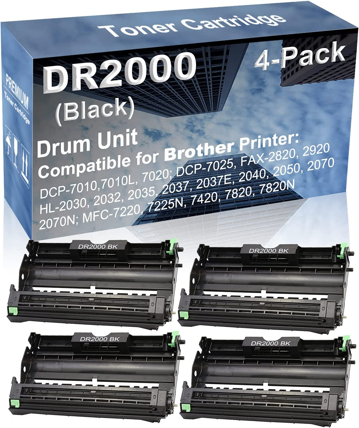 4-Pack Compatible Drum Unit (Black) Replacement for Brother DR2000 Drum Kit use for Brother HL-2070N, MFC-7220, MFC-7225N, MFC-7420, MFC-7820, MFC-7820N Printer