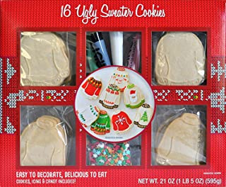 Golden Gift Box - Ginger Bread House Train Ugly Sweater Ornaments Kit - Gingerbread No Bake Complete With Cookies Icing and Decorations (Ugly Sweater Cookie Kit Large Party Size)