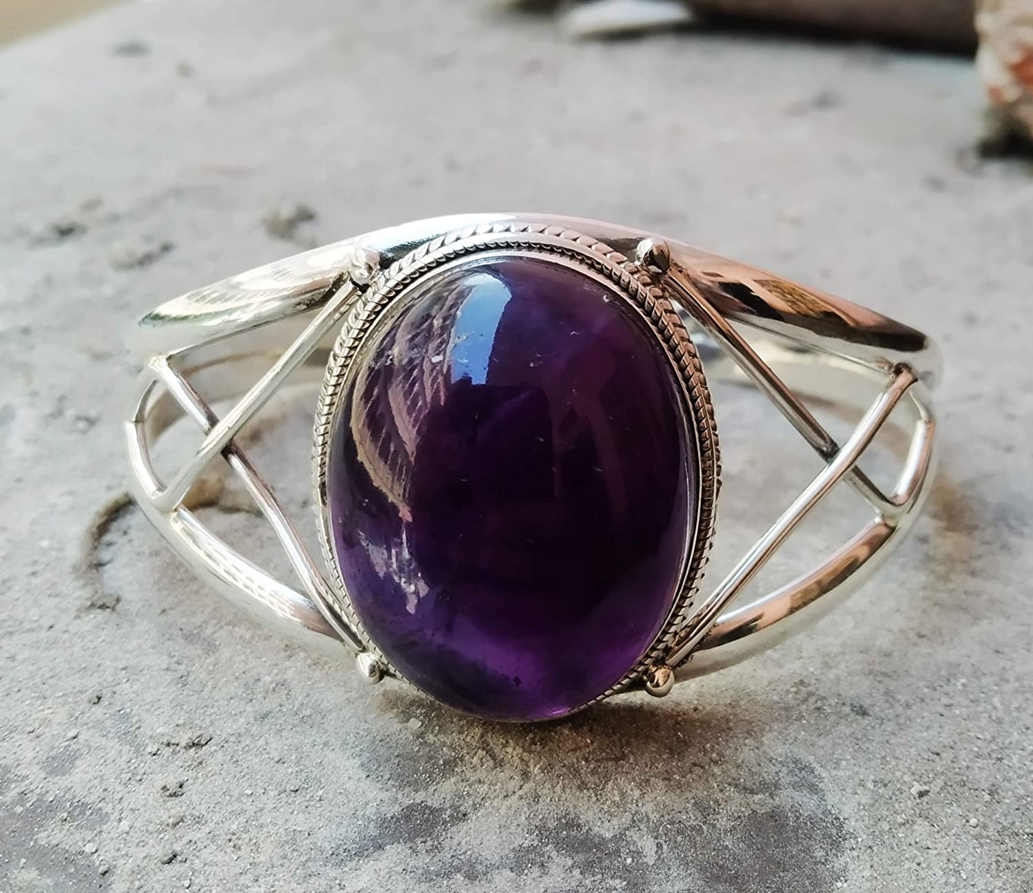 Amethyst Popularity excellence Bangle 925 Sterling Boho Silver State Adjustable