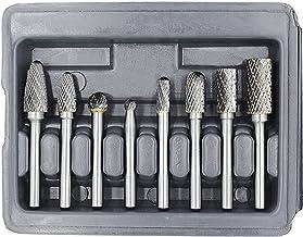 YUFUTOL Carbide Burr Set with 1/4''(6.35mm) Shank 8pcs Double Cut Solid Carbide..