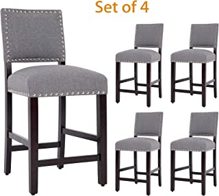 DAGONHIL 24 Inches Counter Height Bar Stools with Black Solid Wood Legs-Set of 4 (Gray)
