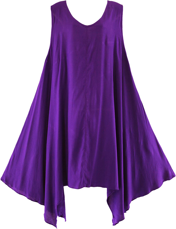 Beautybatik Solid Basic Flowy Summer Sleeveless Plus Size Long Tank Tunic Tops