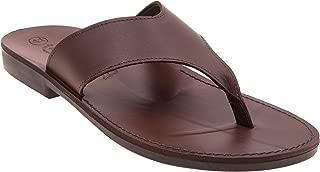 NIMI Shoes Noah's Men's Leather Flat, Flip Flops, T-Strap Retro Sandals