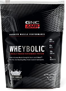 GNC AMP Wheybolic Whey Protein Powder - Classic Vanilla, 10 Servings, Contains 40 Protein, 15g BCAA, and 10g Leucine Per S...