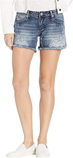 Frayed Medium Wash Denim Shorts with Paisley in Blue