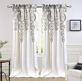 DriftAway Taylor Moroccan Cascading Medallion Floral Pattern Room Darkening Window Curtains Rod Pocket Two Panels Each Size 50 Inch by 84 Inch Yellow Gray