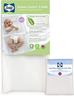 Sealy Baby Soybean Comfort 3-Sided Contoured Diaper Changing Pad & Multi-Use Pads Bundle