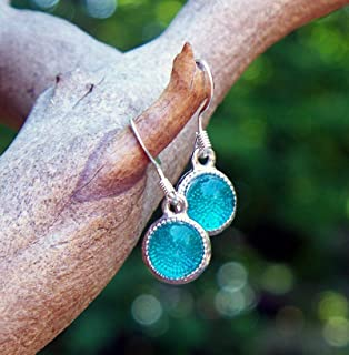 Recycled Vintage Mason Jar Glass Color Dot Earrings