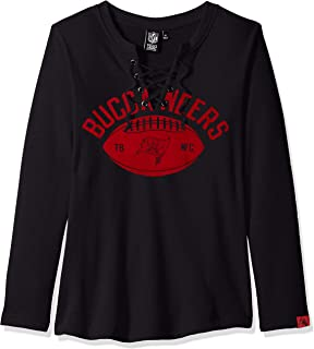 Icer Brands NFL Tampa Bay Buccaneers Women's Fleece Sweatshirt Lace Long Sleeve Shirt, Small, Black