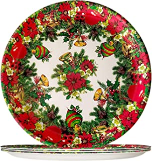 4 Piece Plastic Dinner Plates - Lightweight Colorful Melamine Dinnerware Sets, Round Red Salad Bread & Butter Plate, Chris...