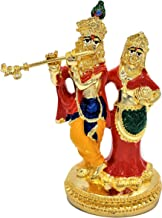 "Radha Krishna Statue 4"" - Hindu God, Gold Plated Resin Statue, Multi Color"