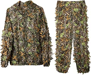 DoCred Ghillie Suit 3D Leaf Realtree Camo Camouflage Lightweight Clothing Suits for Jungle Hunting, Shooting, Airsoft, Wildlife or Halloween