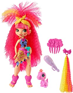 Cave Club Emberly Doll 10-inch, Pink Hair Poseable Prehistoric Fashion Doll with Dinosaur Pet and Accessories, Gift for 4 Year Olds and Up [Amazon Exclusive]