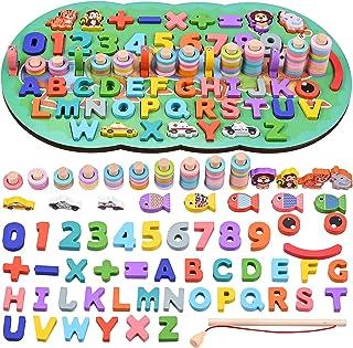 GOLDGE Jeu Montessori Mathématiques, Jeux Éducatif Puzzles en Bois avec Jeu de pêche magnétique, Jouet Enfant Apprendre à ...