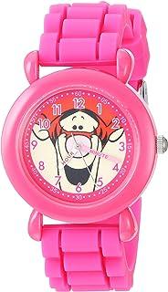 ساعة يد للبنات من ديزني - كوارتز مع سوار من السيليكون، زهري، 15.5 موديل WDS000620