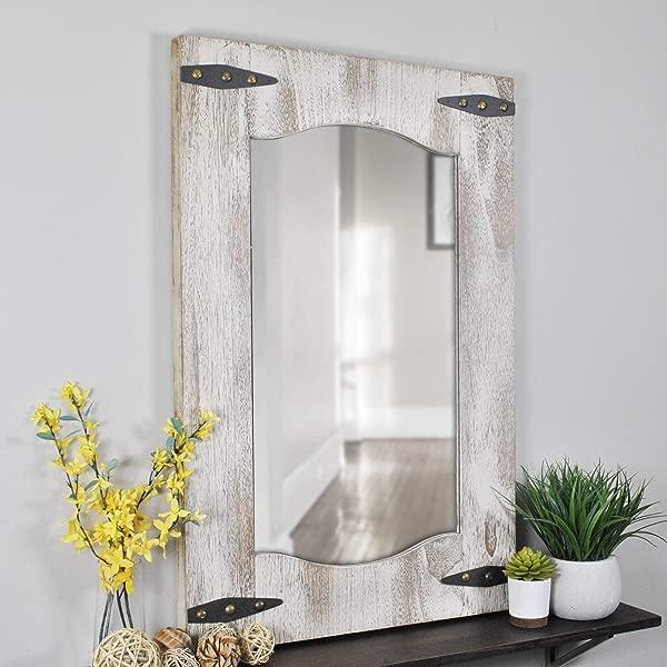 FirsTime Co 70000 Barn Door Wall Mirror 33 5 H X 21 5 W Tan Ivory Wood