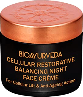 BIOAYURVEDA Cellular Night Cream For Wrinkles, Fine Lines, Dark Spots, Pigmentation, Acne|Natural Moisturizer For Firm, Lift, Tone, Soft Skin|Anti-Aging With Vitamin C,E Hyaluronic|No Paraben (2 OZ)