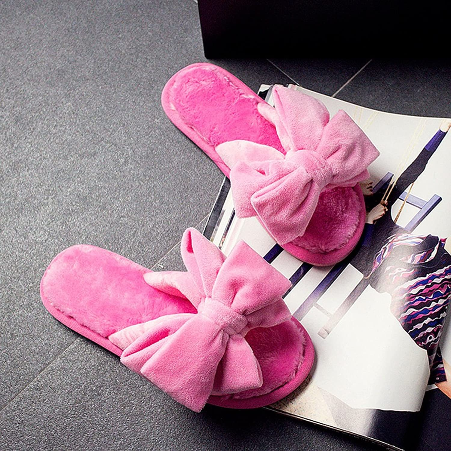 Female slippers winter fall keep warm indoor home Non-slip bowknot slippers ( color   6 , Size   EUR 40-41 )